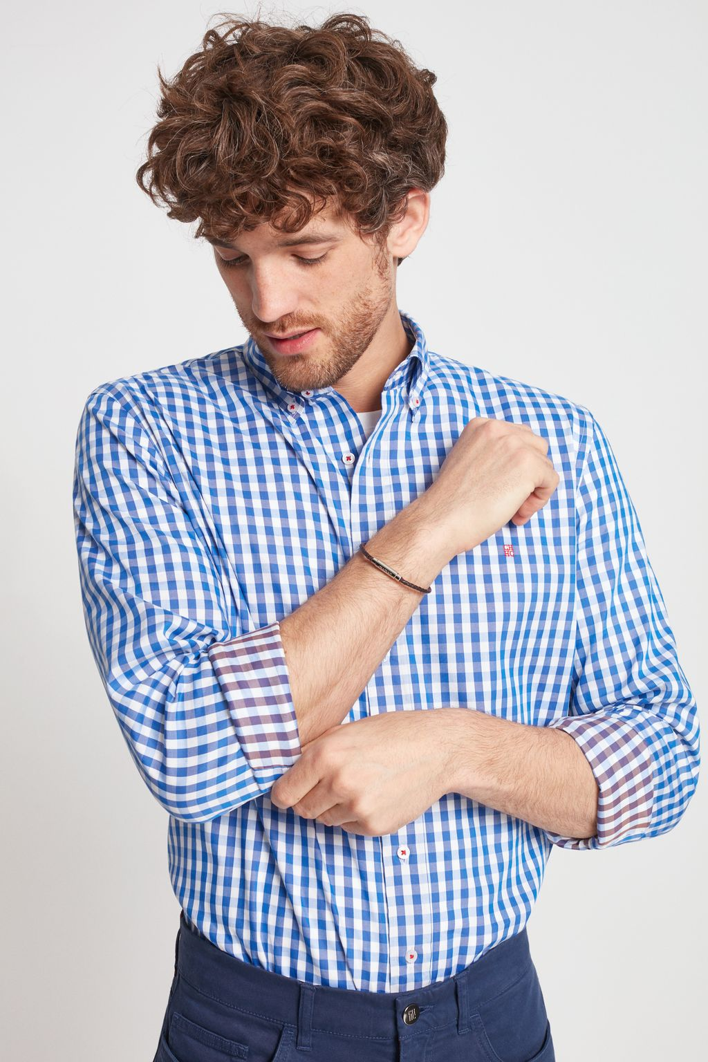 Checked double-faced shirt