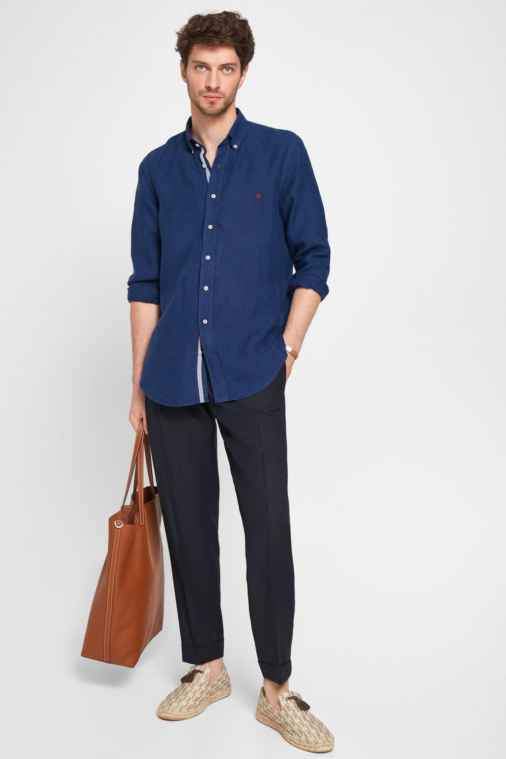 Linen shirt with grosgrain