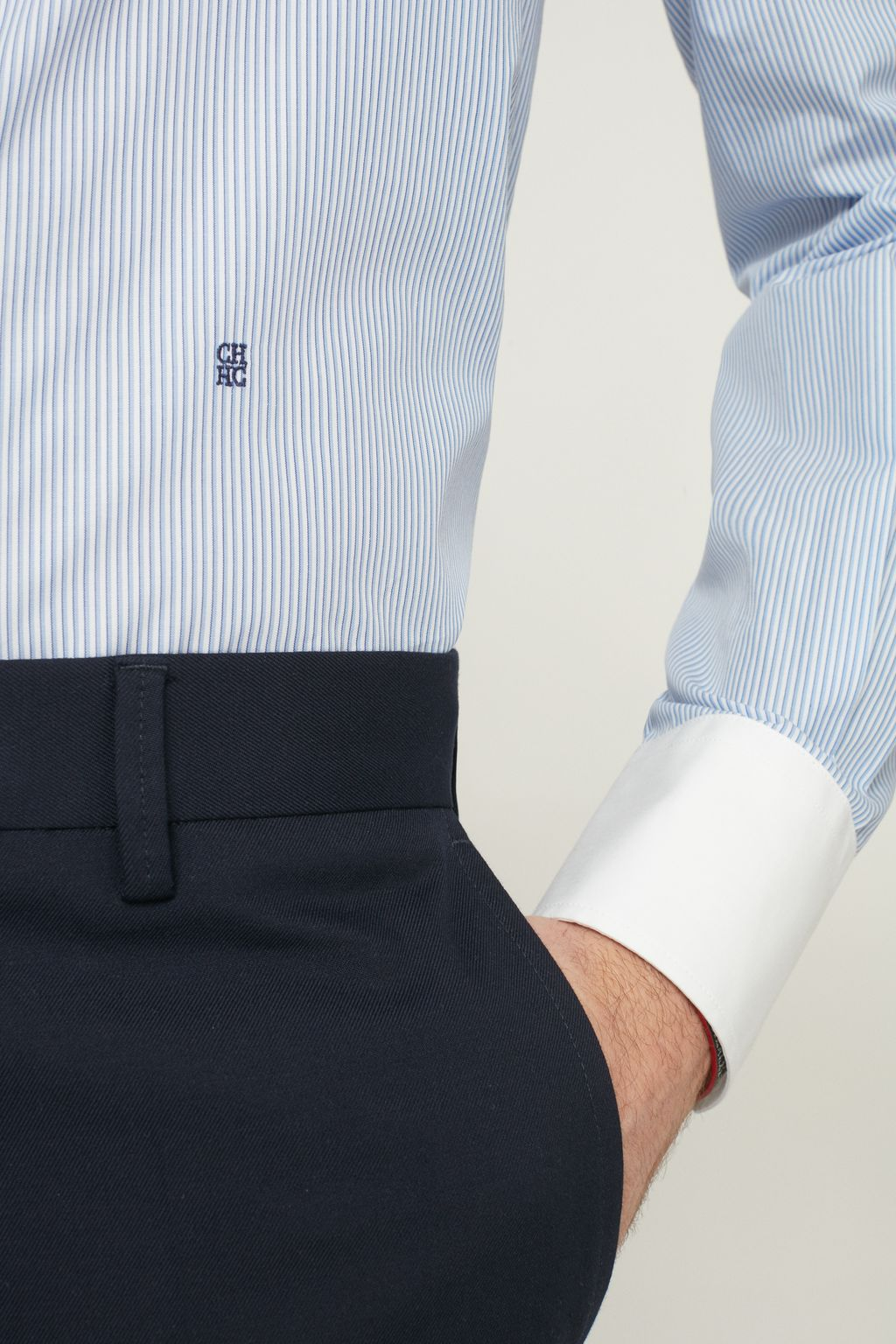 Striped twill shirt with Italian collar