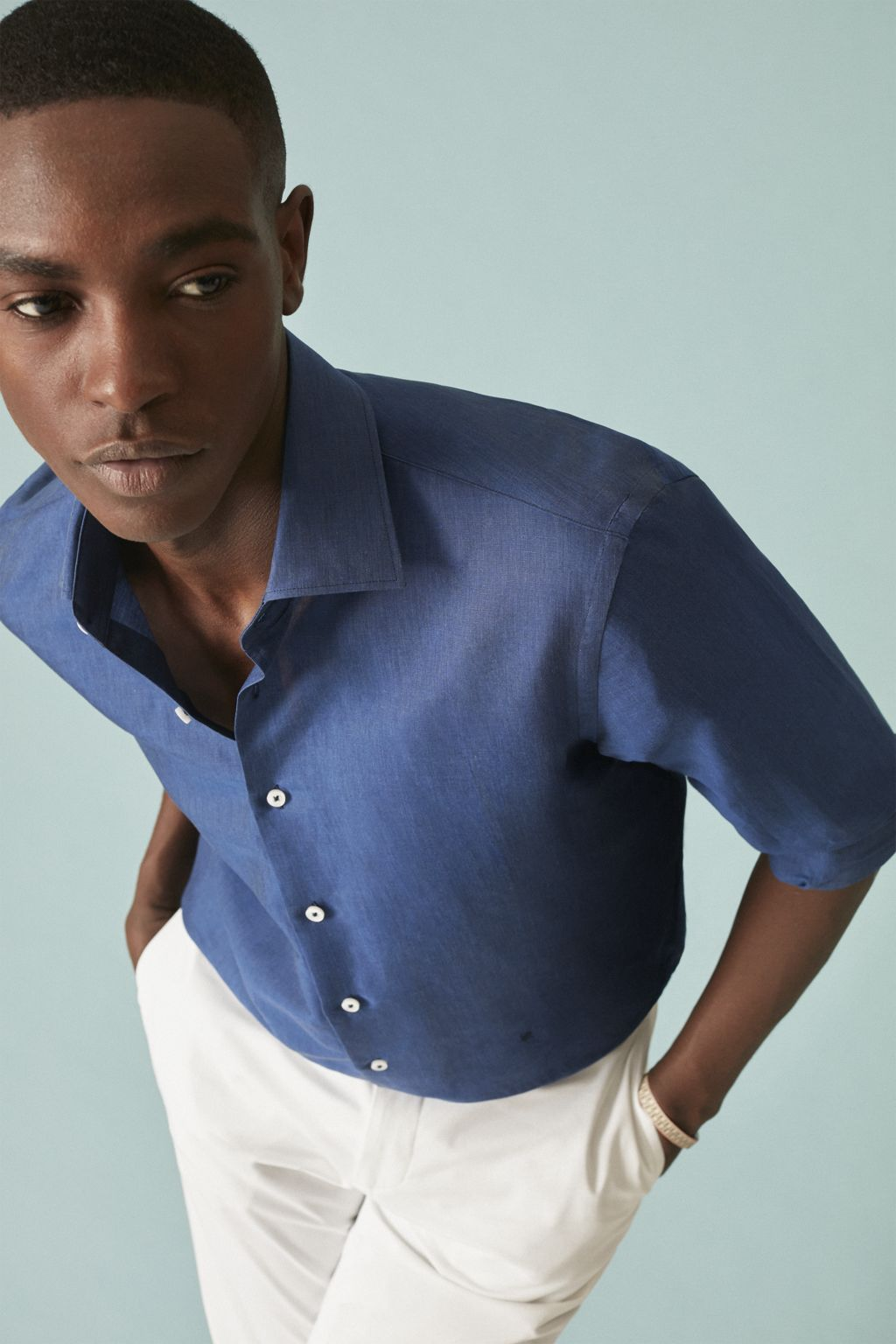Linen and cotton shirt with Italian collar