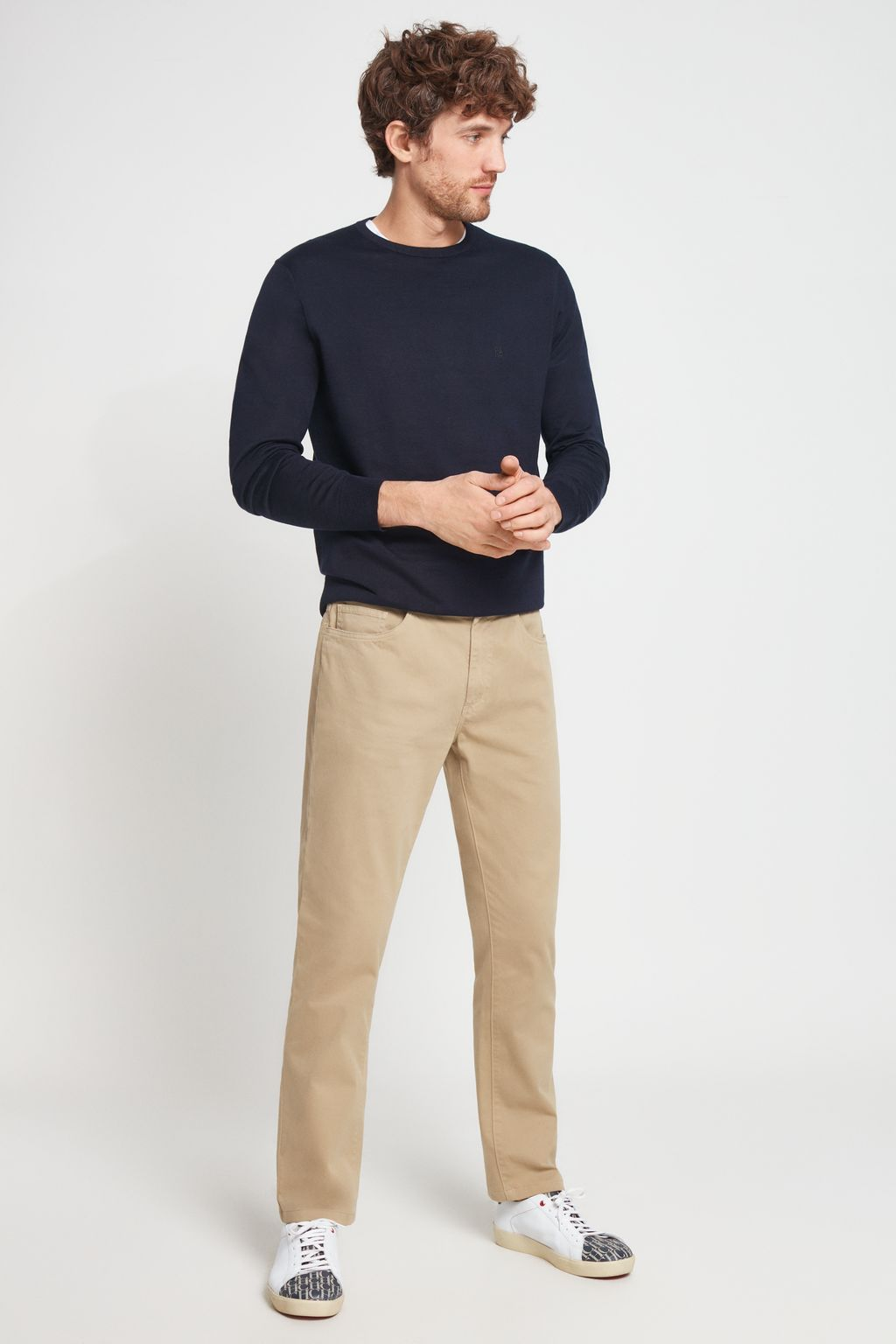 Five pocket stretch-cotton trousers
