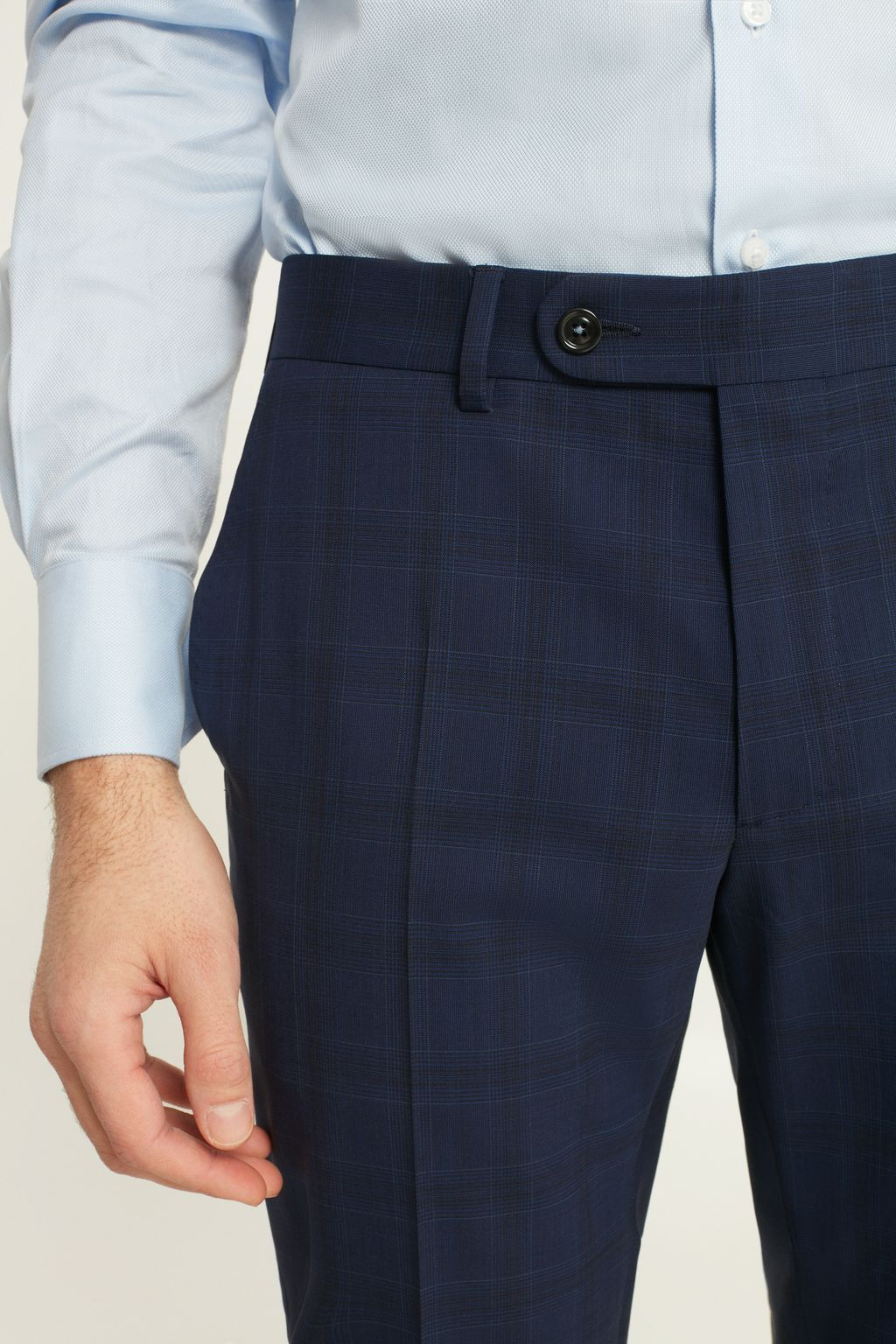 Classic Prince of Wales checked virgin wool suit trousers