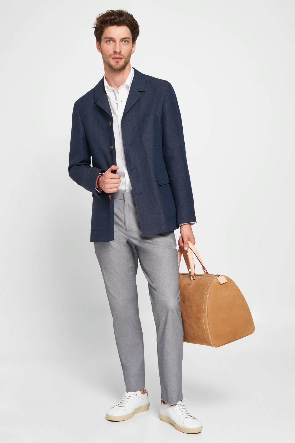 Regular fit stretch-Oxford chinos