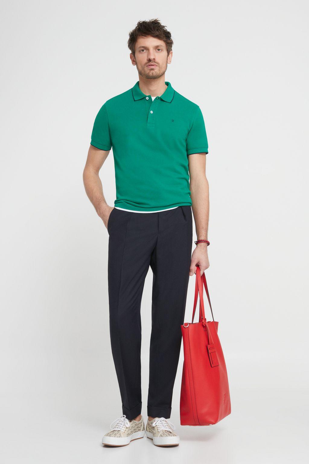Piqué polo shirt with trims