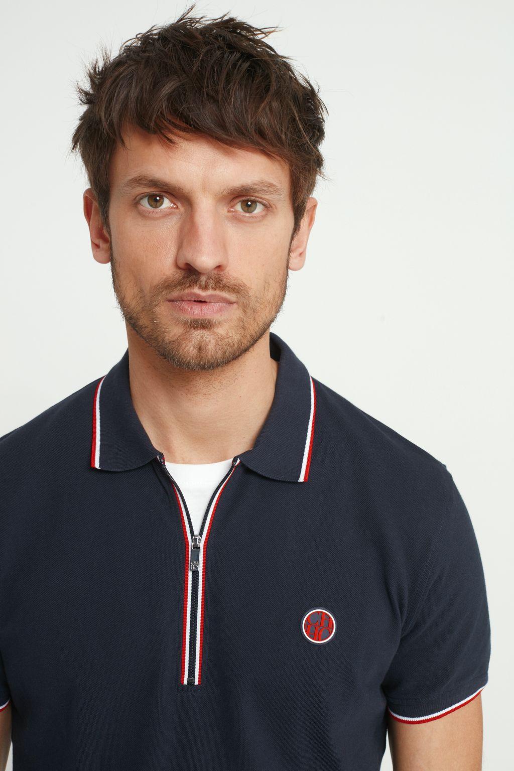 Piqué half-zip polo shirt