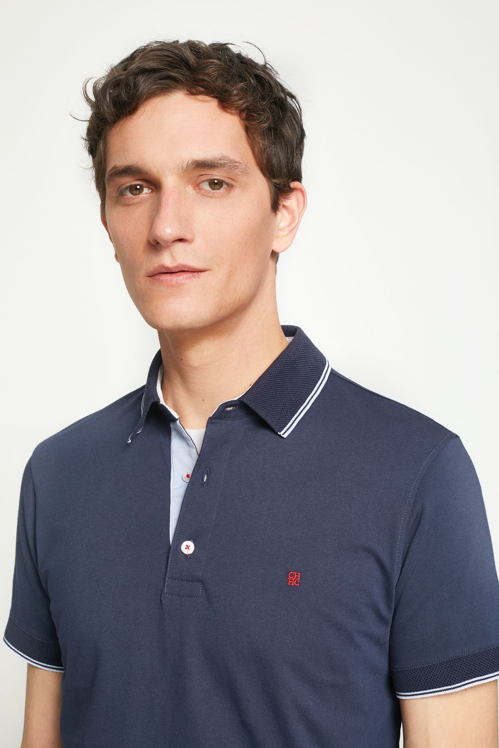 Polo shirt with striped trims
