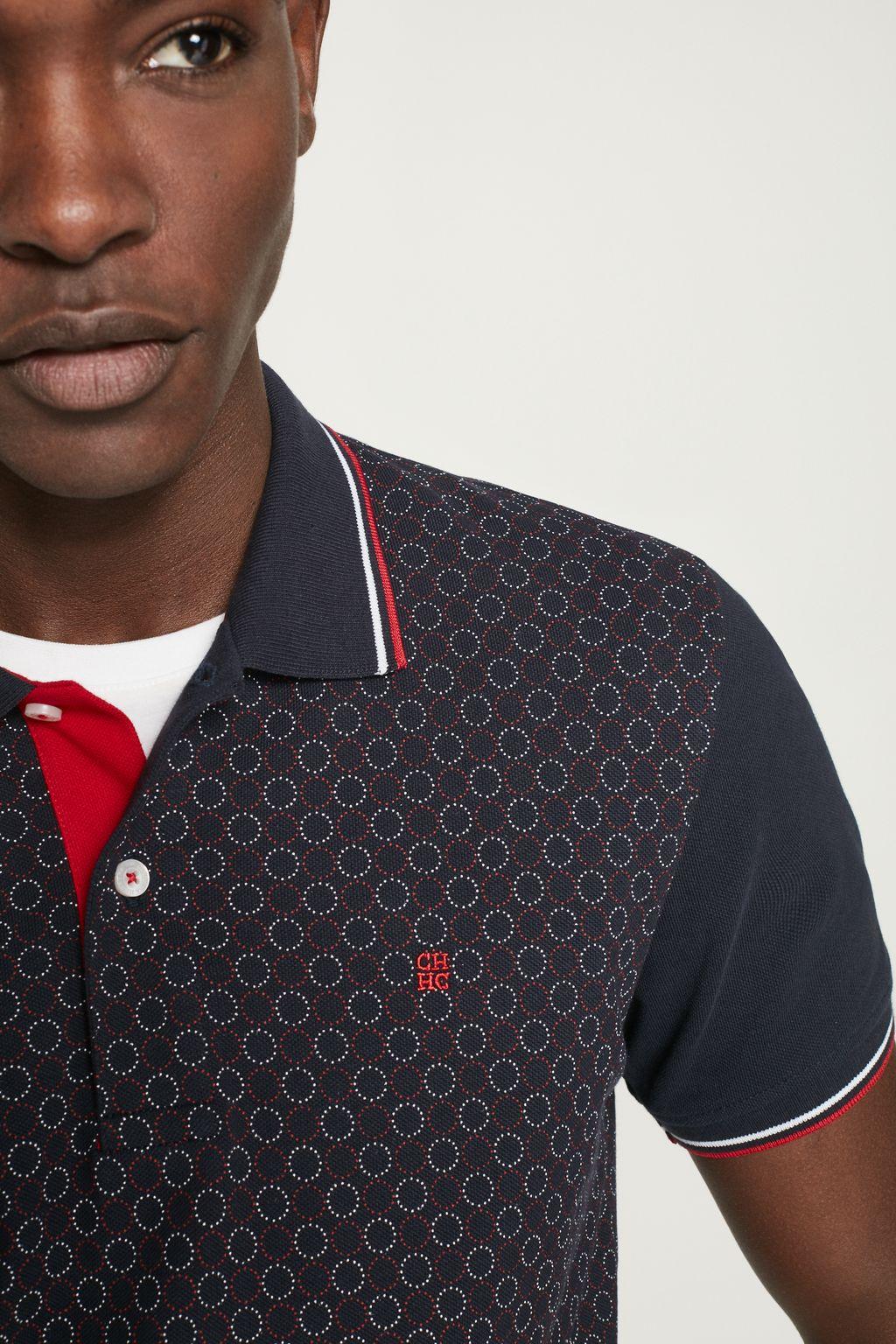 Piqué polo shirt with circles