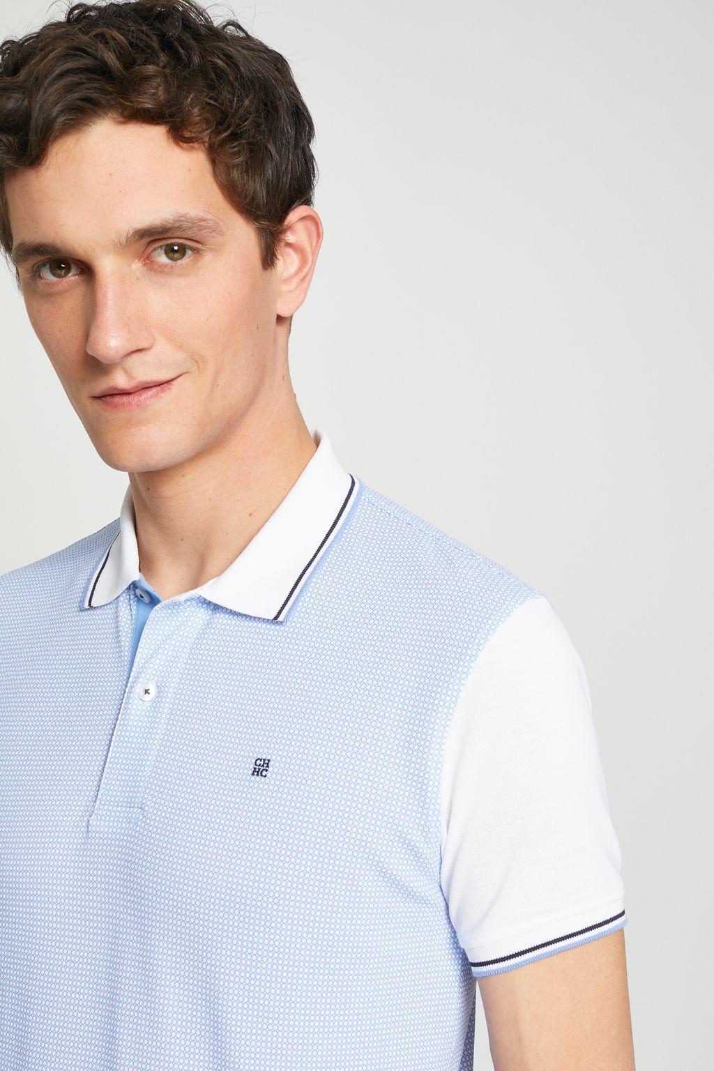 Piqué polo shirt with polka dots