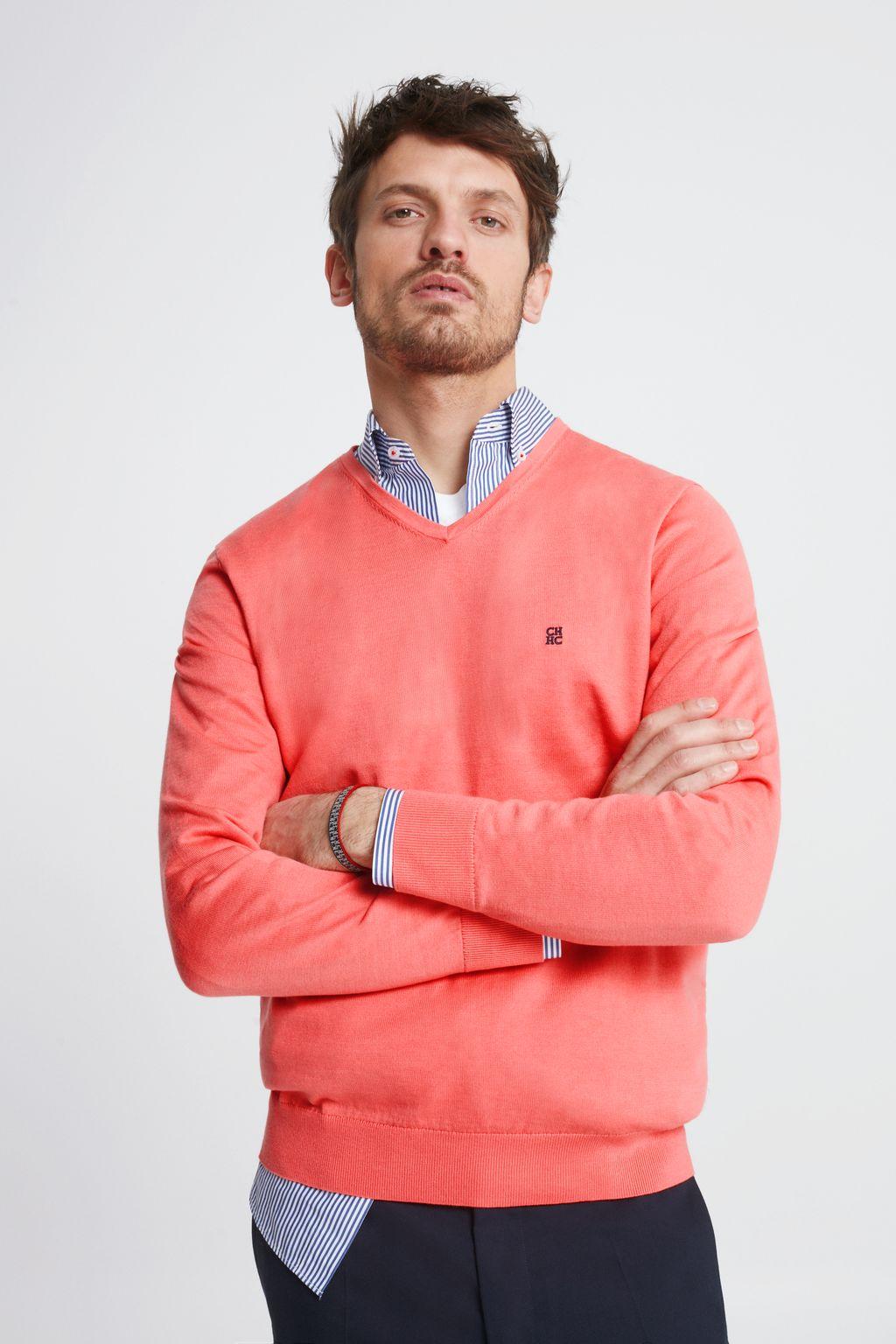 V-neck pima cotton sweater