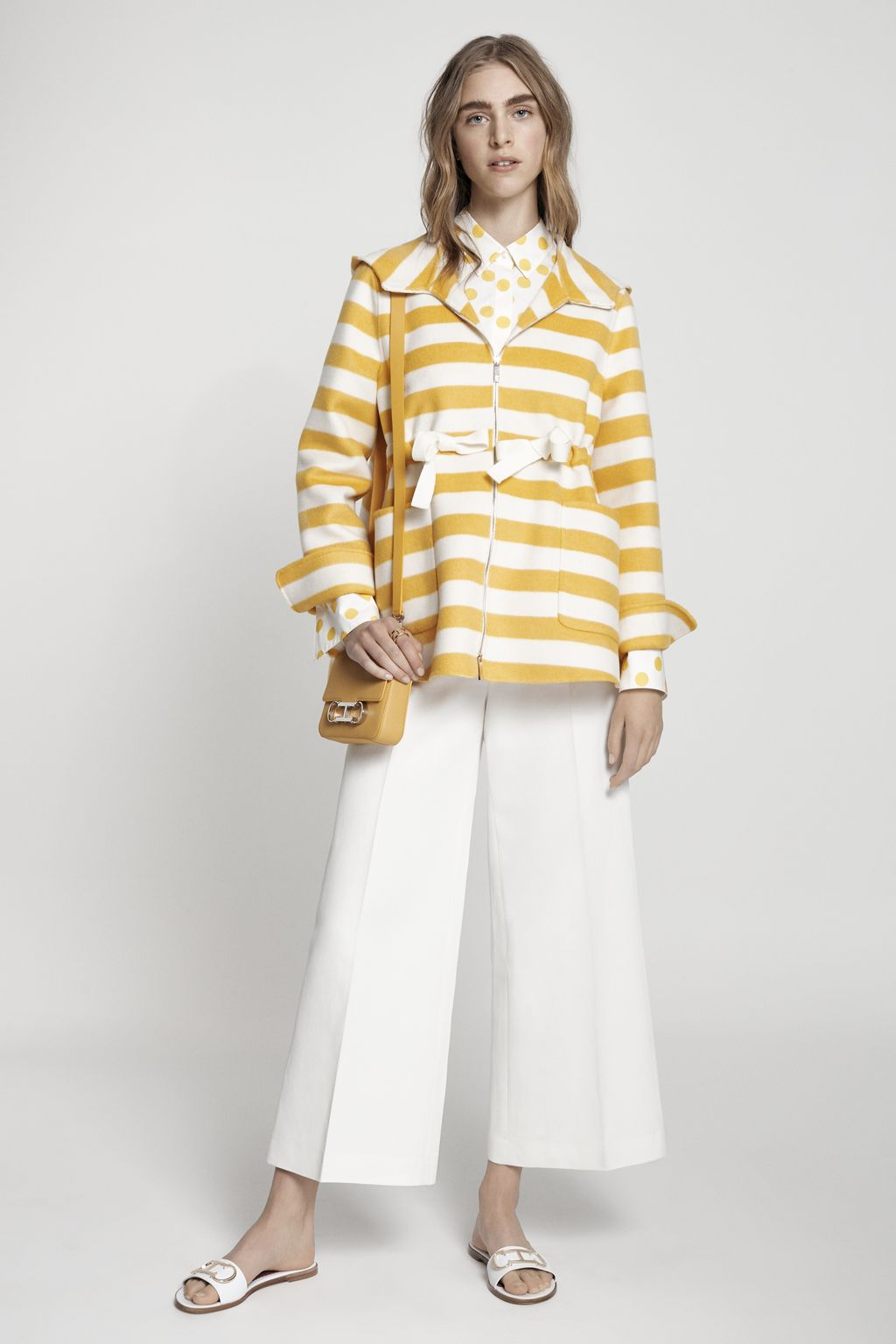 Striped double-faced coat