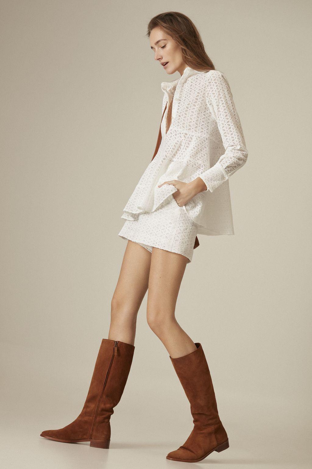 Perforated cotton bermuda shorts