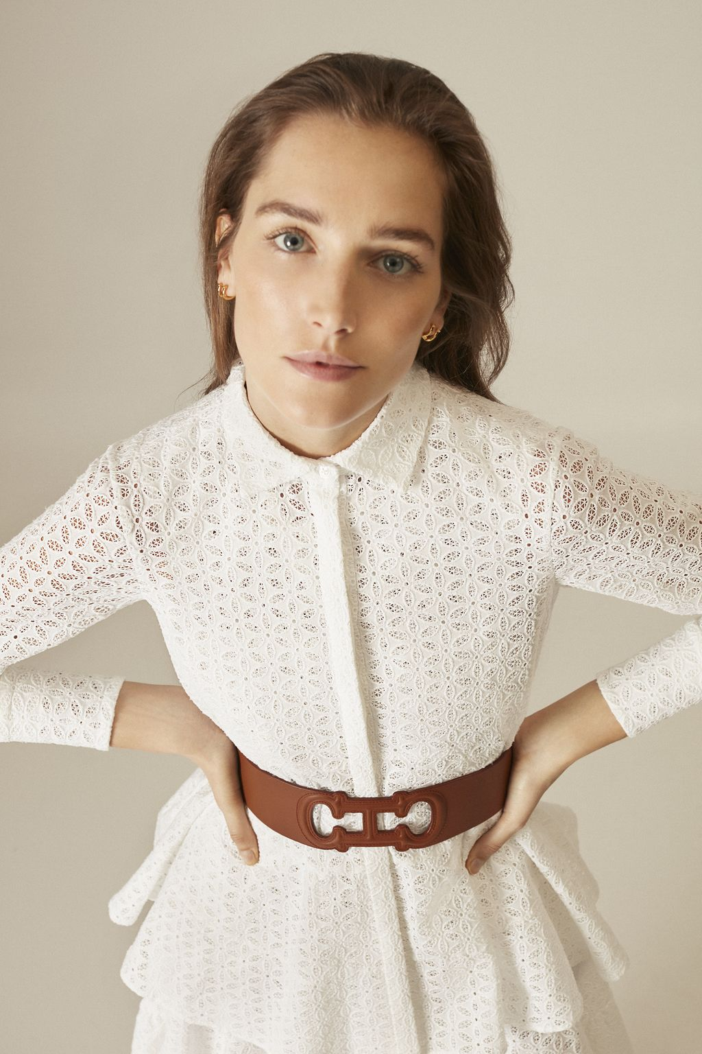Perforated cotton peplum shirt