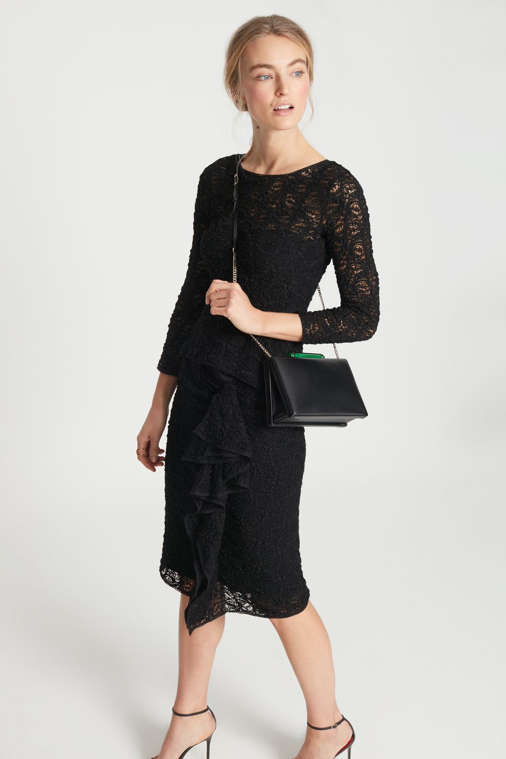 Lace skirt with side ruffle