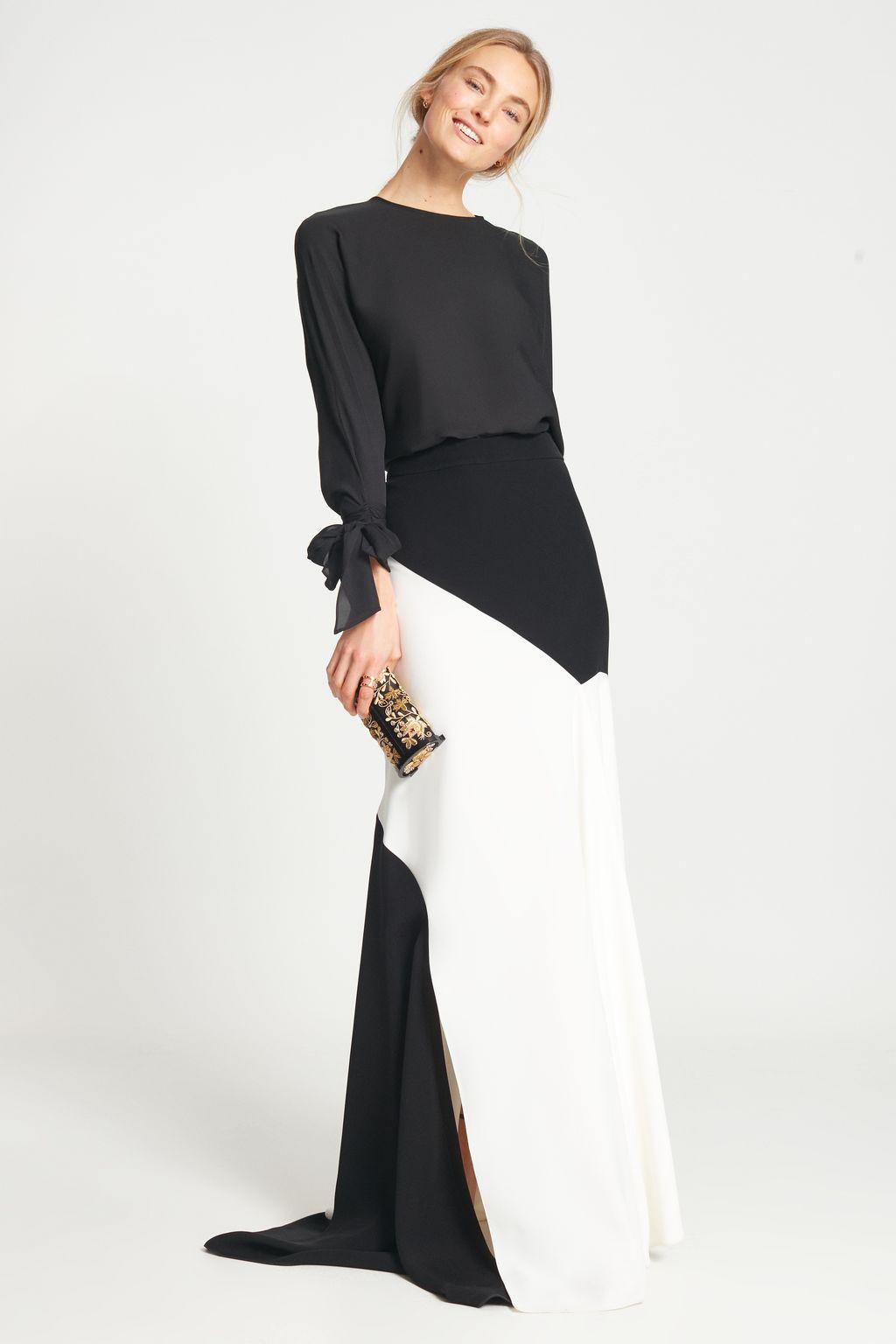 Crepe skirt with godet