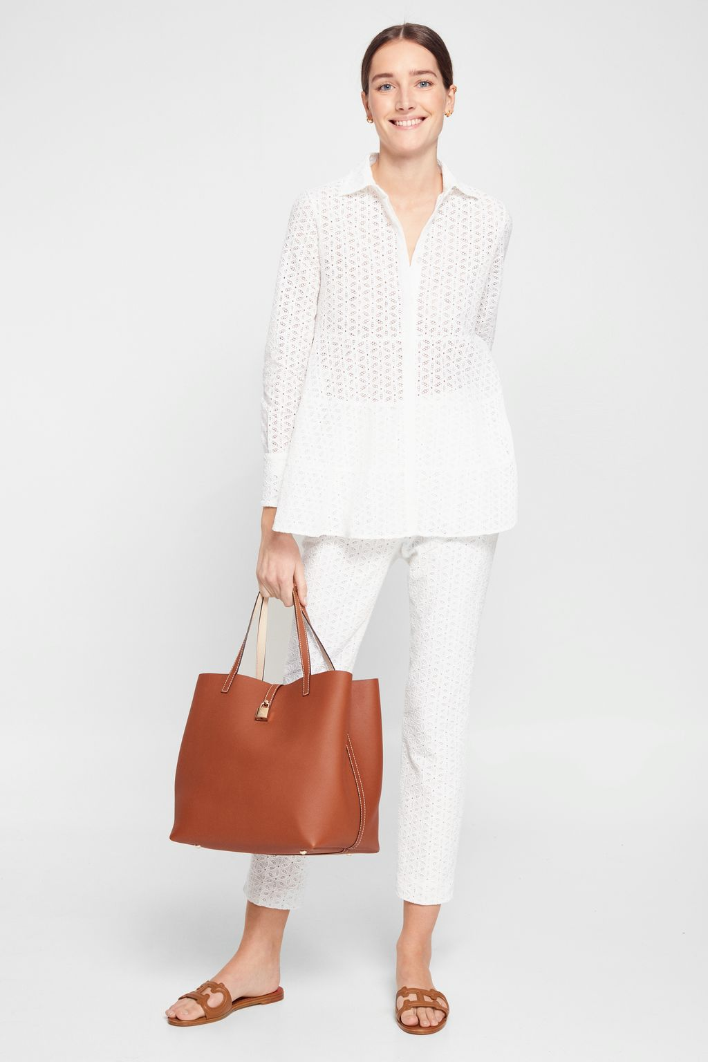 Perforated cotton slim leg trousers