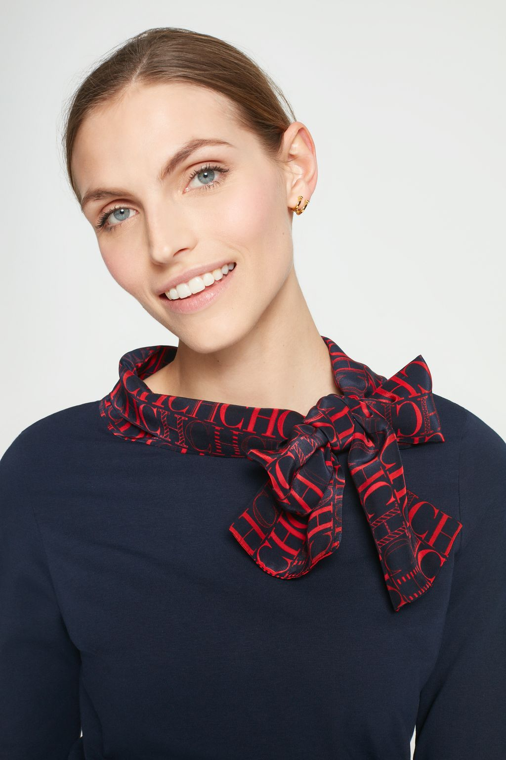 Top with CH silk scarf