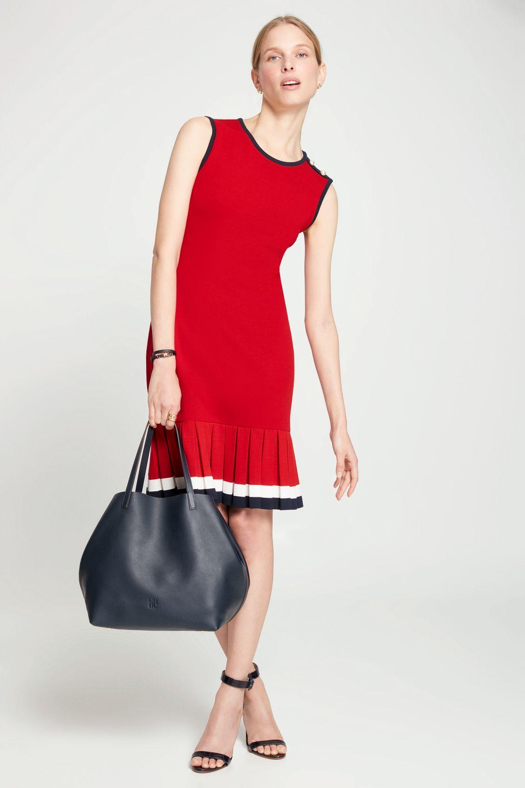 Stretch-knit dress with pleated hem
