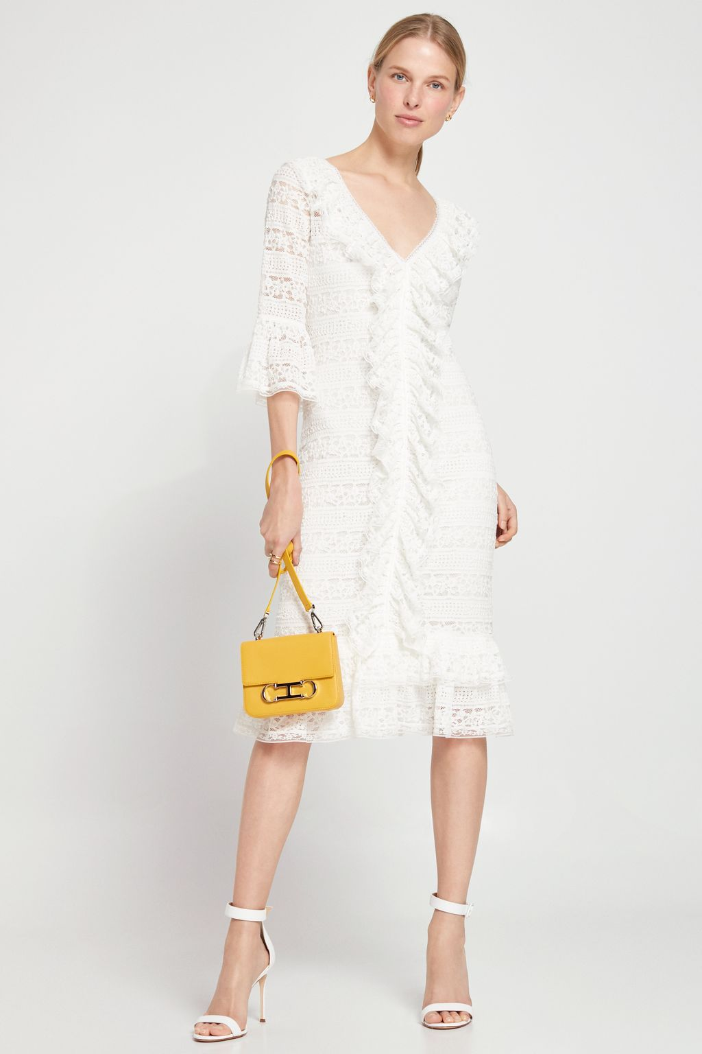 Stretch-lace dress with ruffles