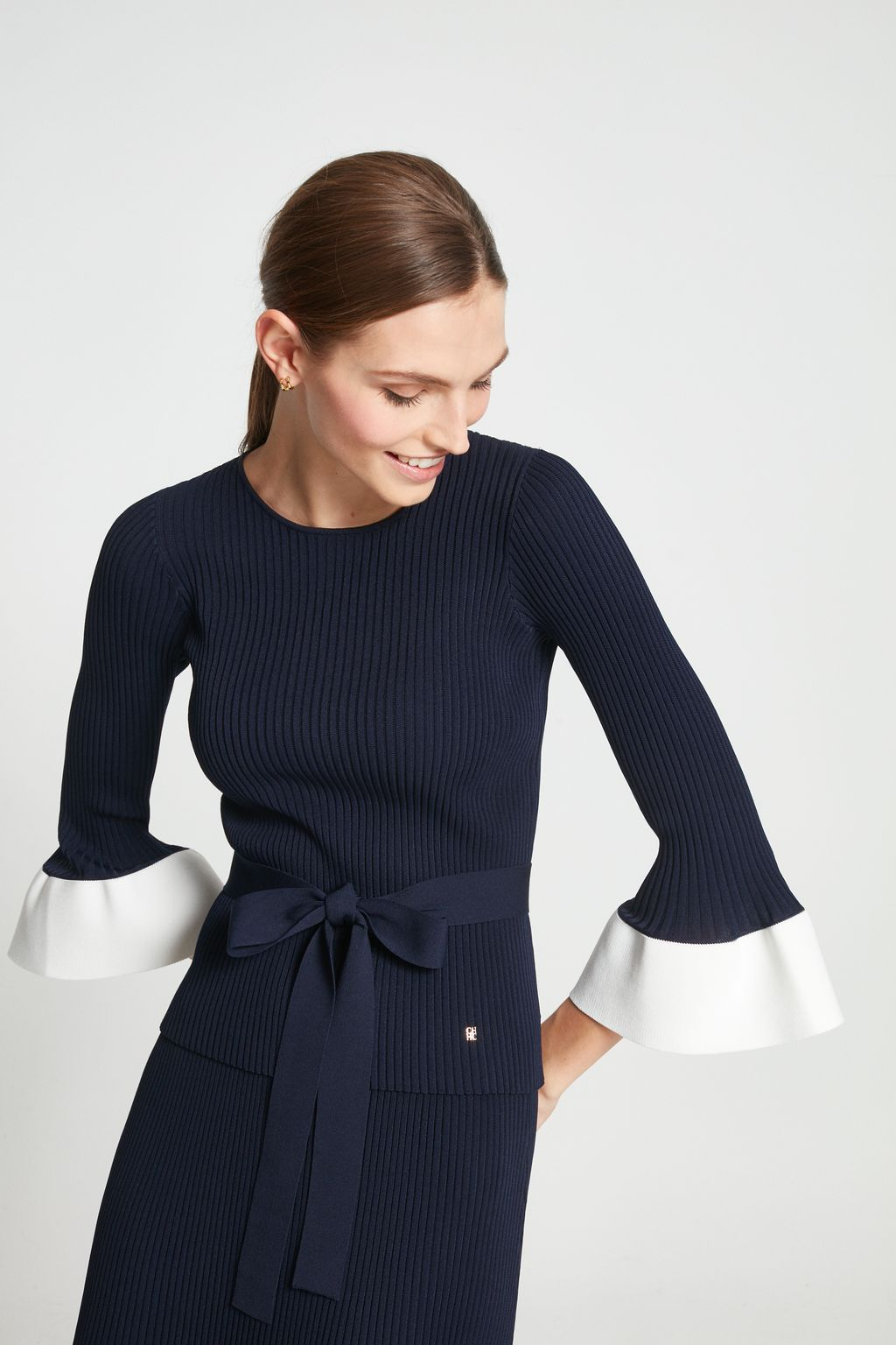 Ribbed knit top with ruffles