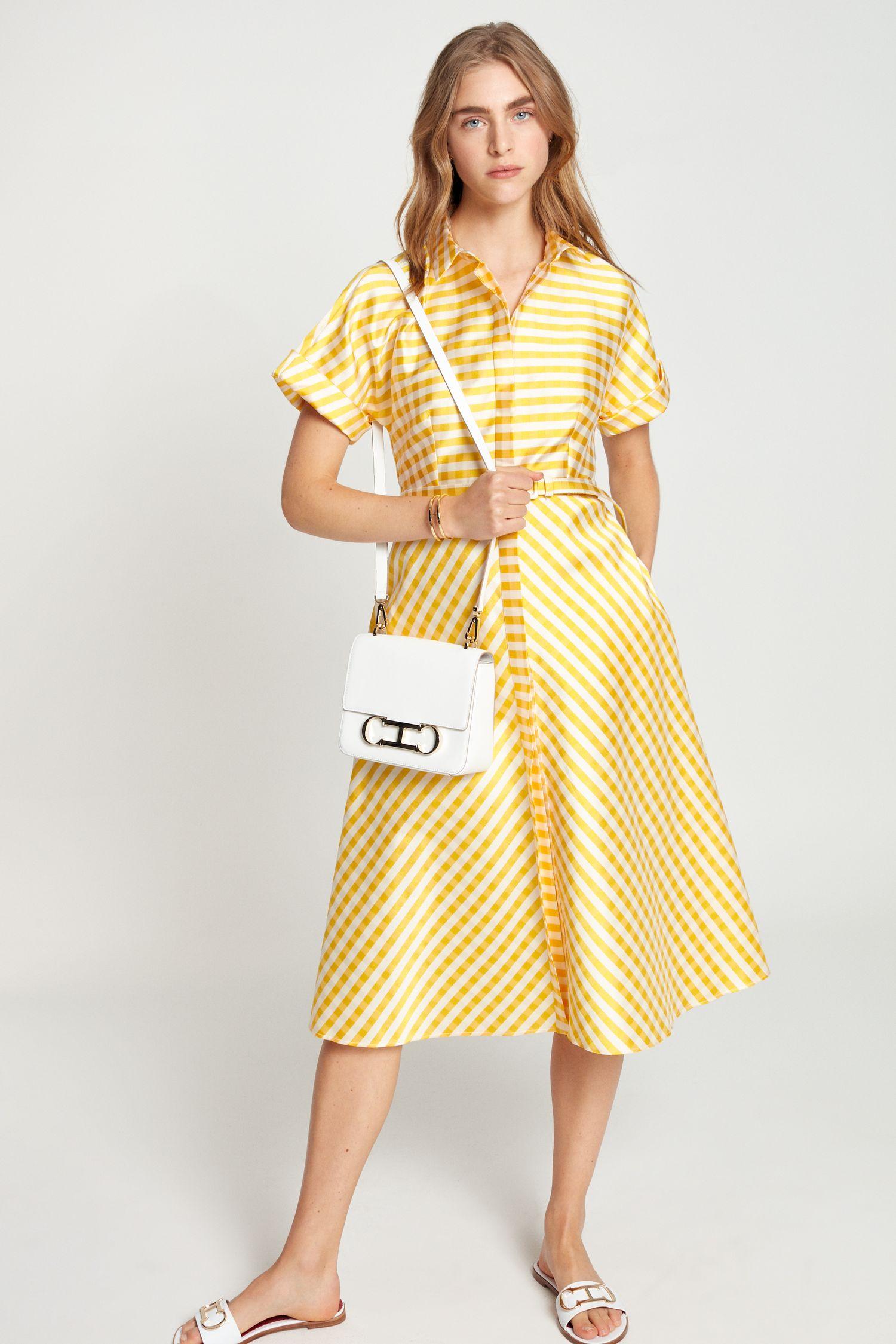 Striped jacquard shirt dress