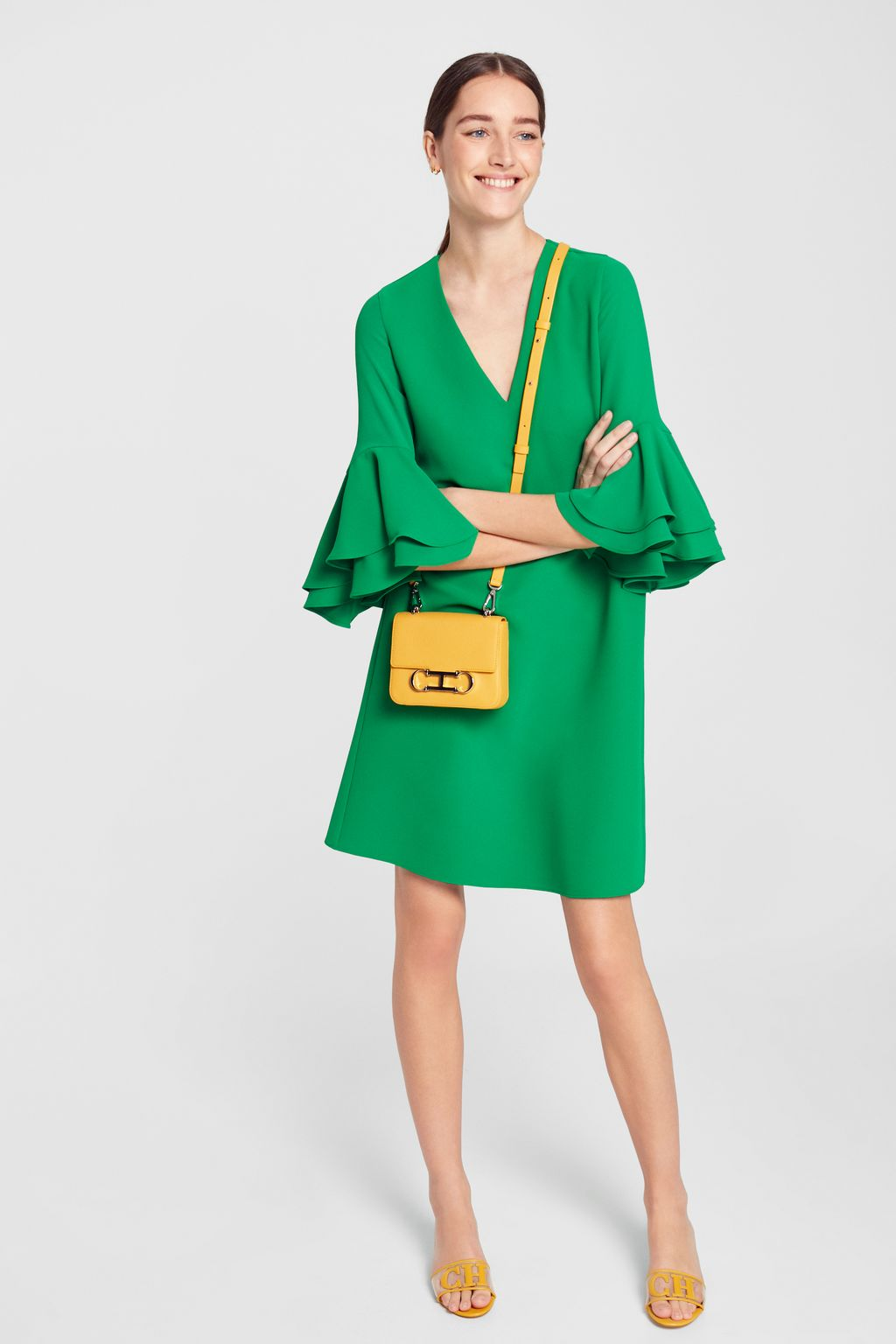 Crepe dress with flared sleeves