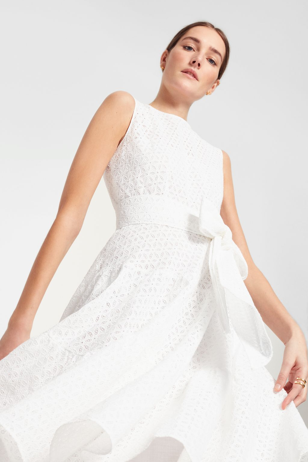 Perforated cotton dress with ruffles