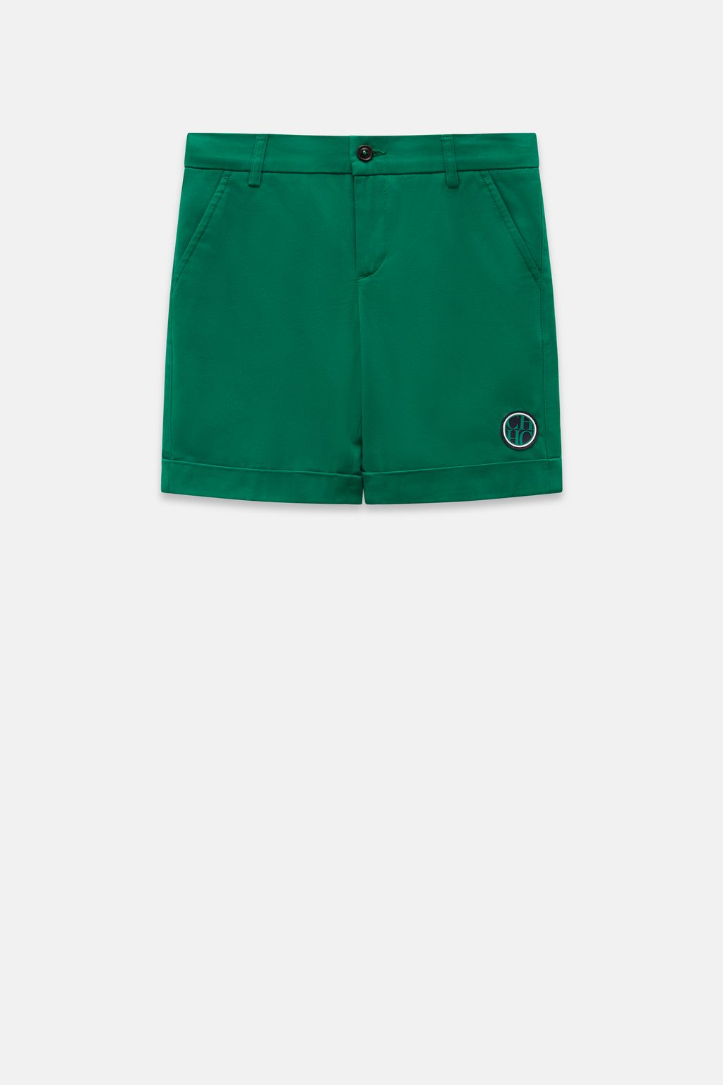 Twill bermuda shorts with CH patch