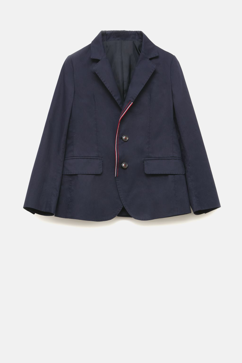 Cotton blazer with grosgrain