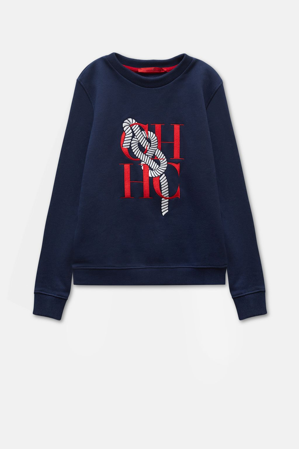 Cotton terry sweatshirt with sailor embroidery