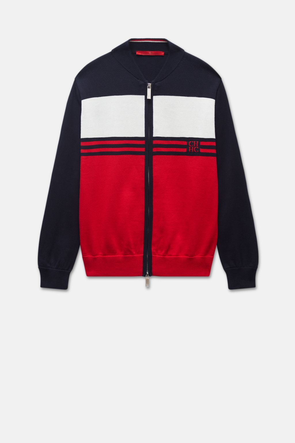 Colour block knitted bomber jacket