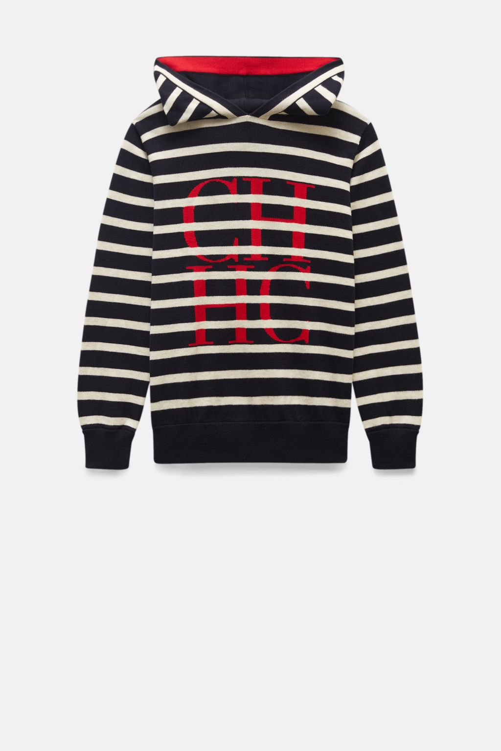 Hooded striped knit sweater