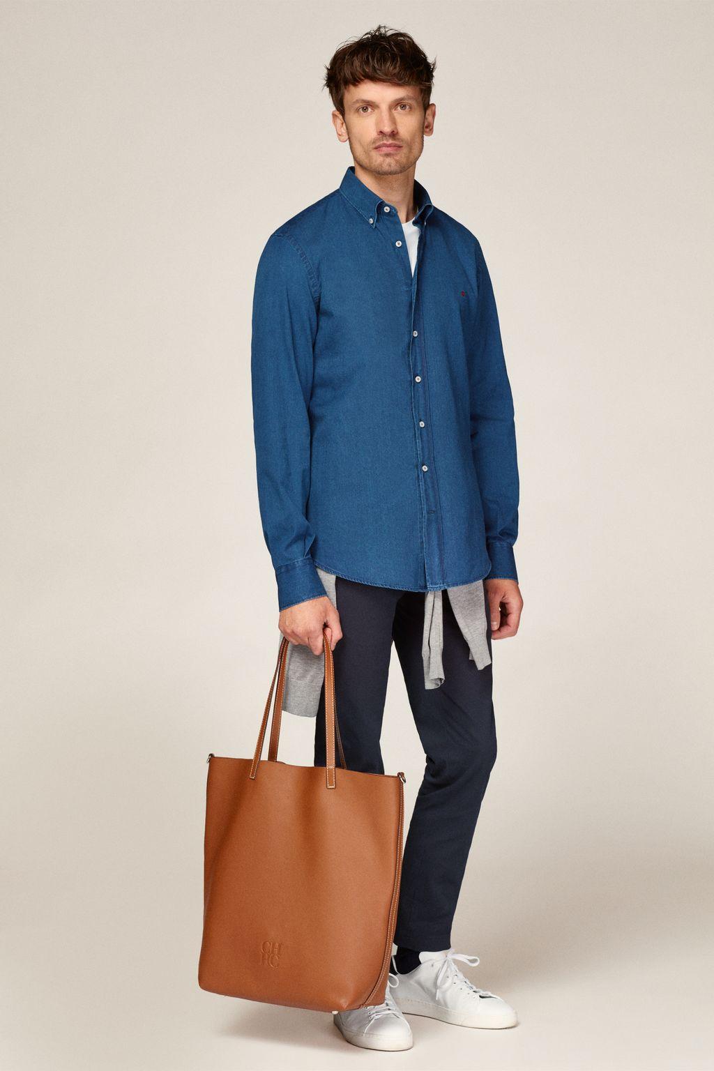 Denim shirt with selvedge