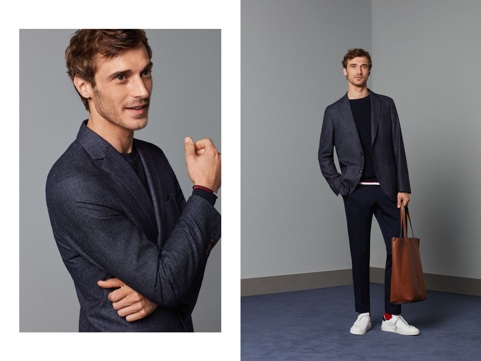 Houndstooth wool-blend blazer