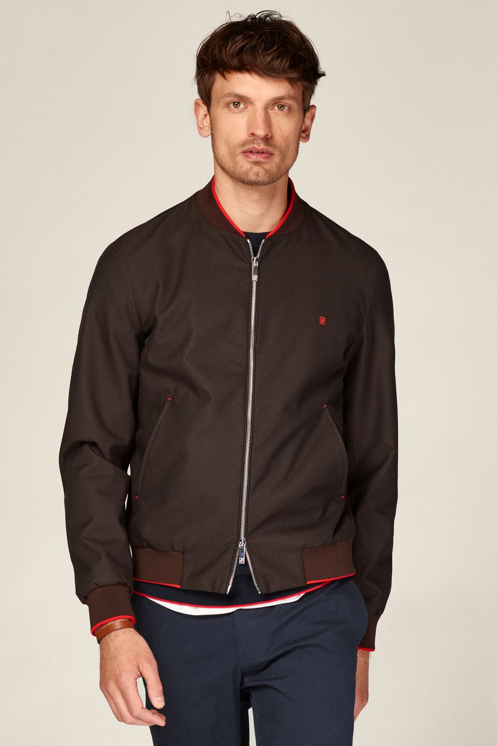 Nylon shell bomber jacket