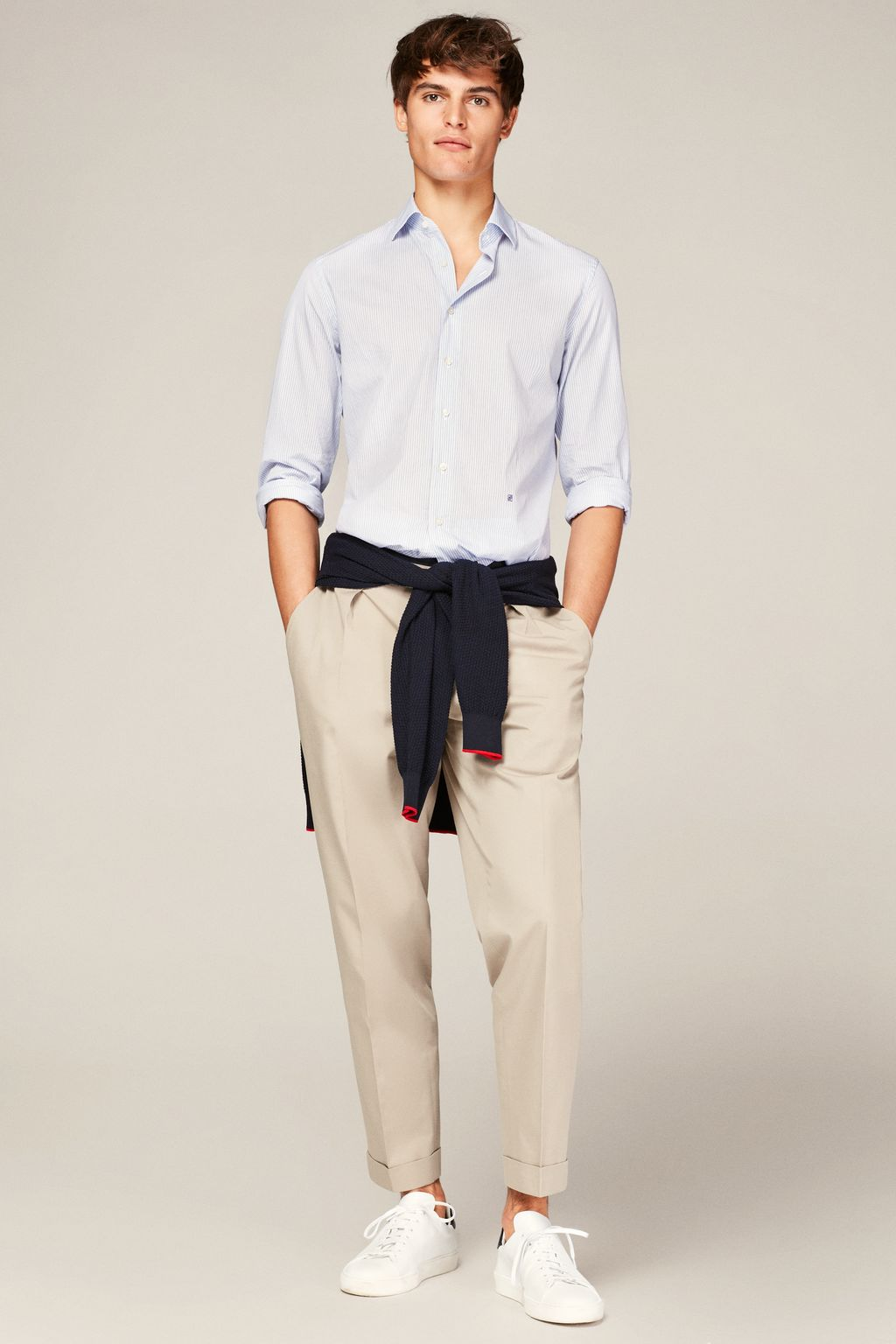Regular fit stretch-twill trousers