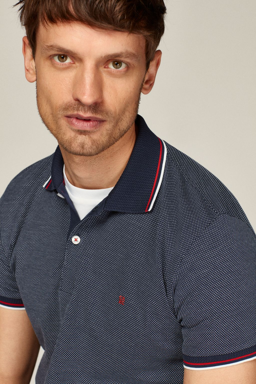 Two-tone piqué polo shirt