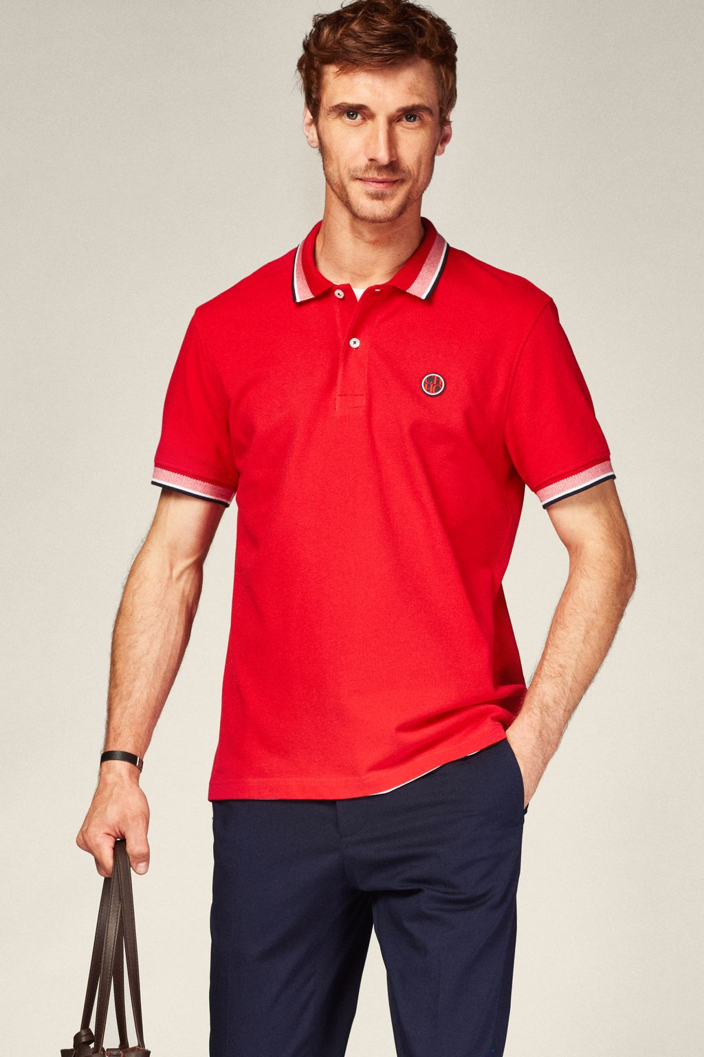 Piqué polo shirt with CH patch