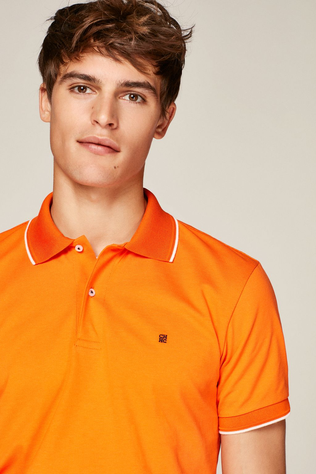 Structured polo shirt with trims