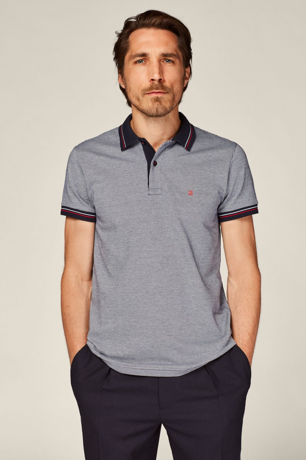 Houndstooth jacquard polo shirt