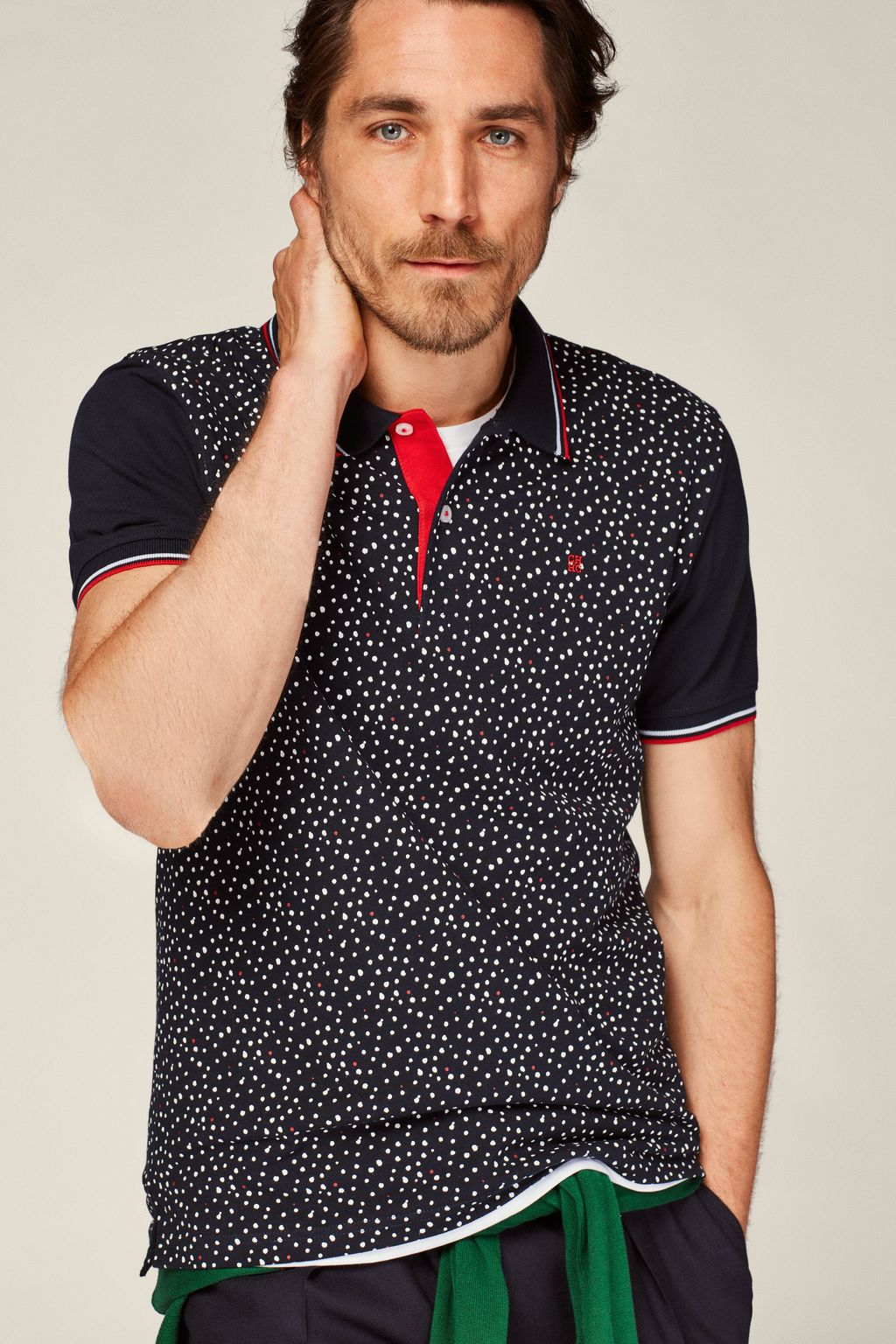 Splash print piqué polo shirt