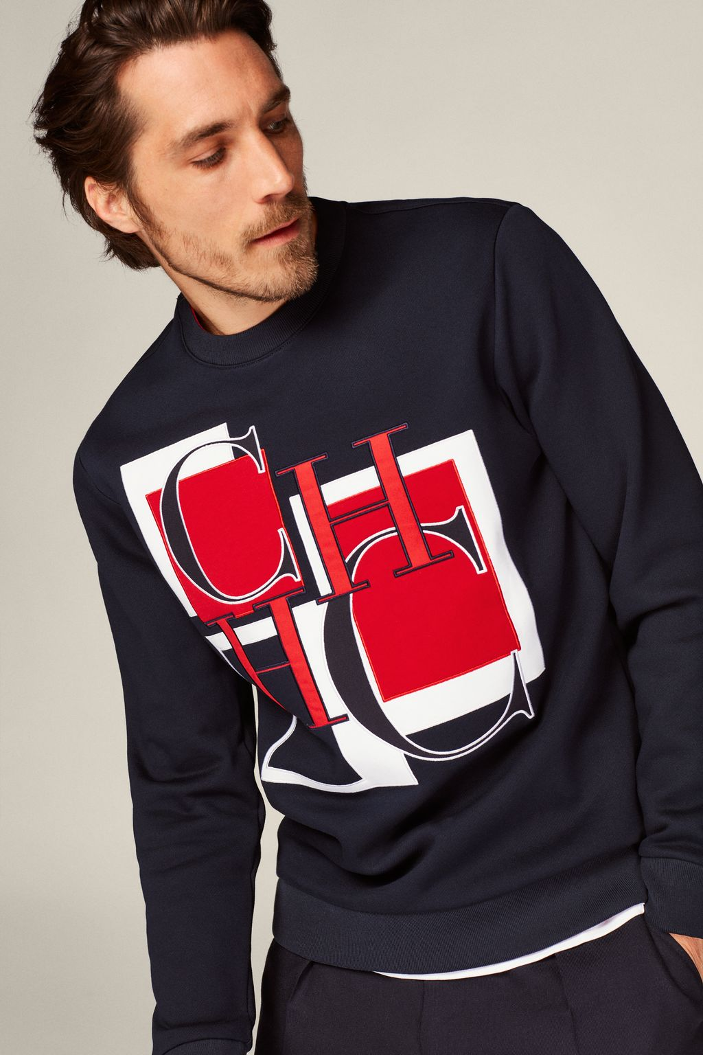 Cotton terry sweatshirt with CH initials