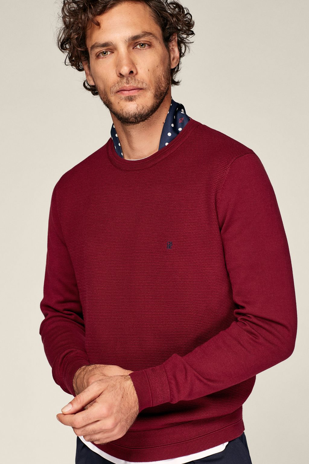 Structured combed cotton sweater