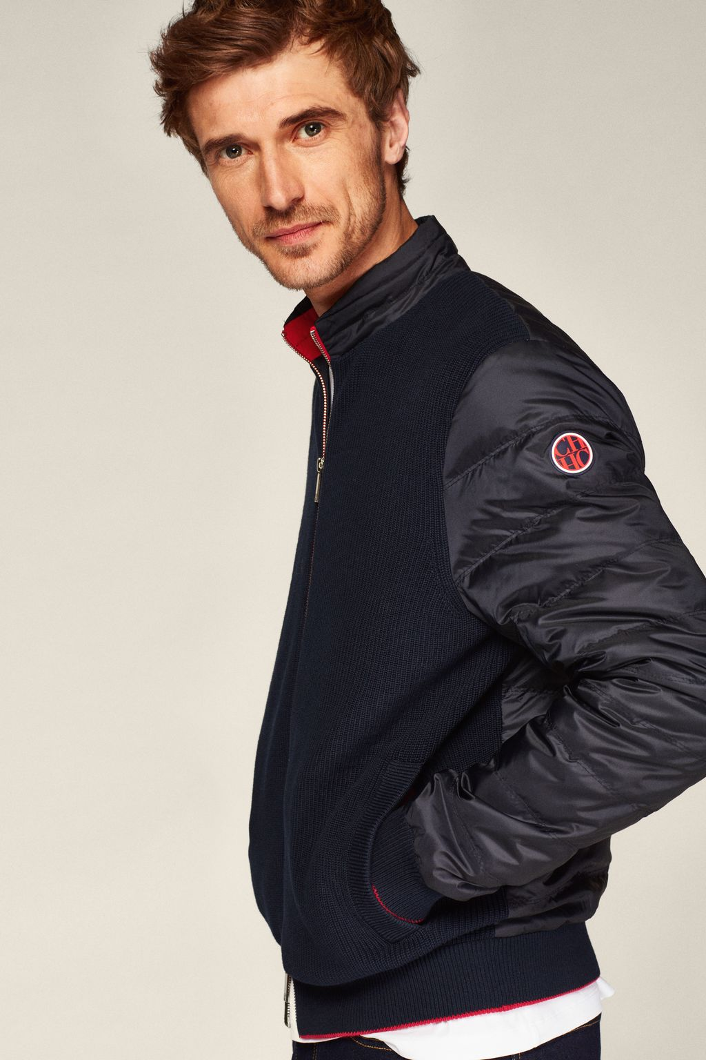 Quilted nylon jacket with quilted front