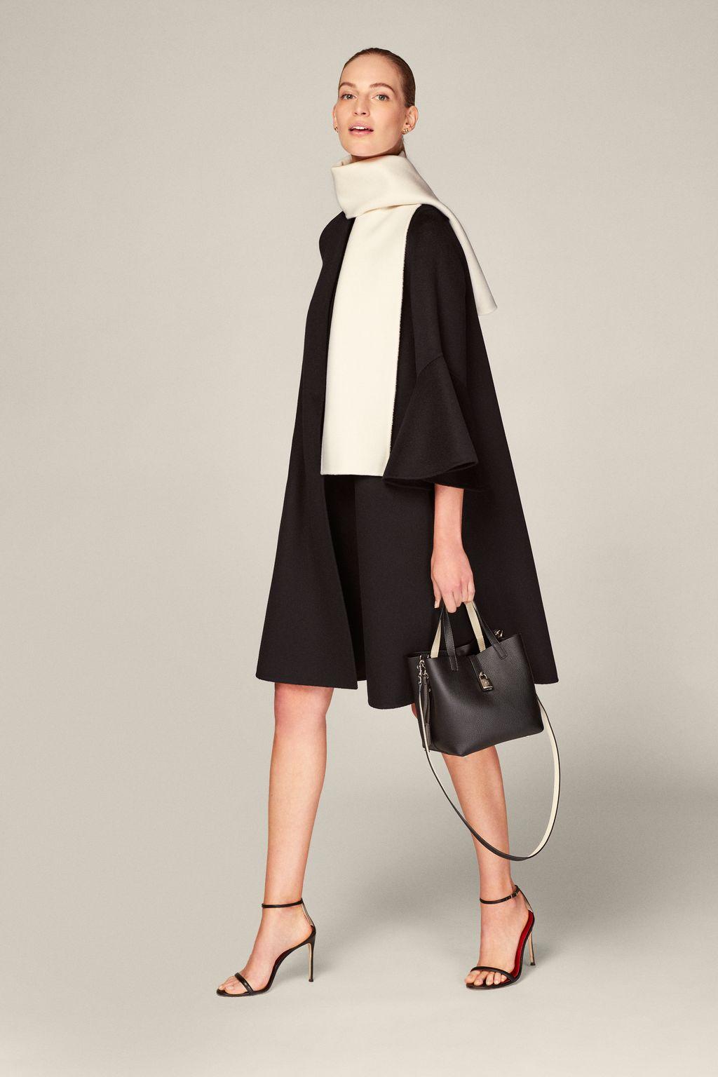 Evasé double-faced wool coat
