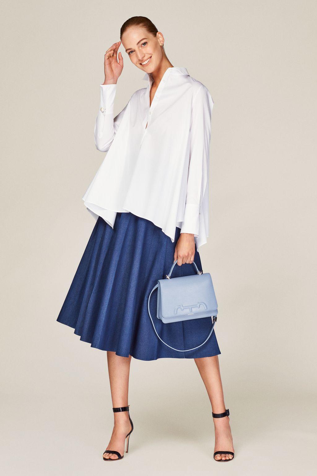 Asymmetric poplin white shirt