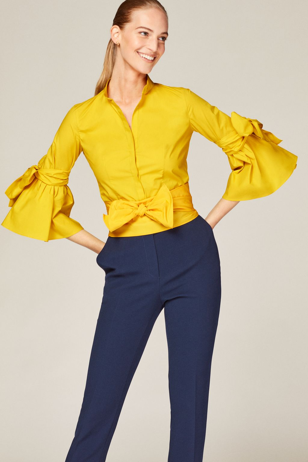 Taffeta shirt with flared sleeves