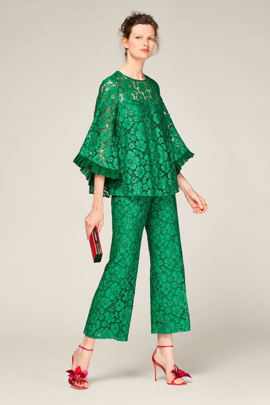 Lace wide-leg trousers