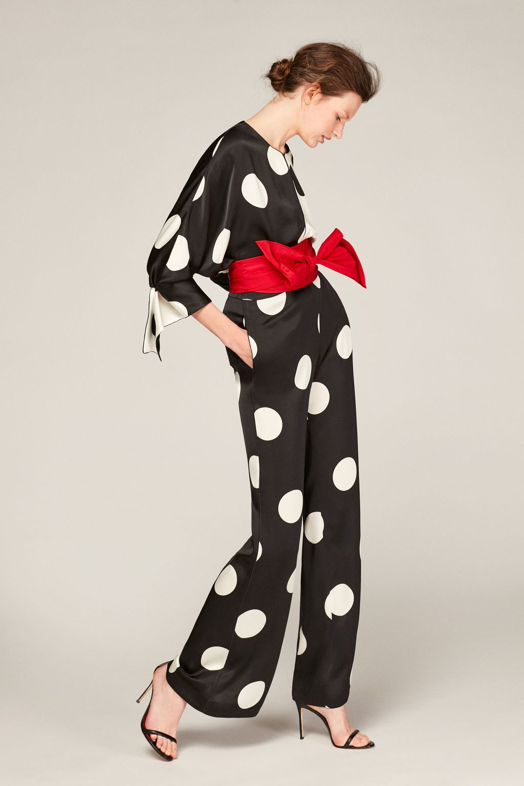 Polka dot crepe straight-leg trousers