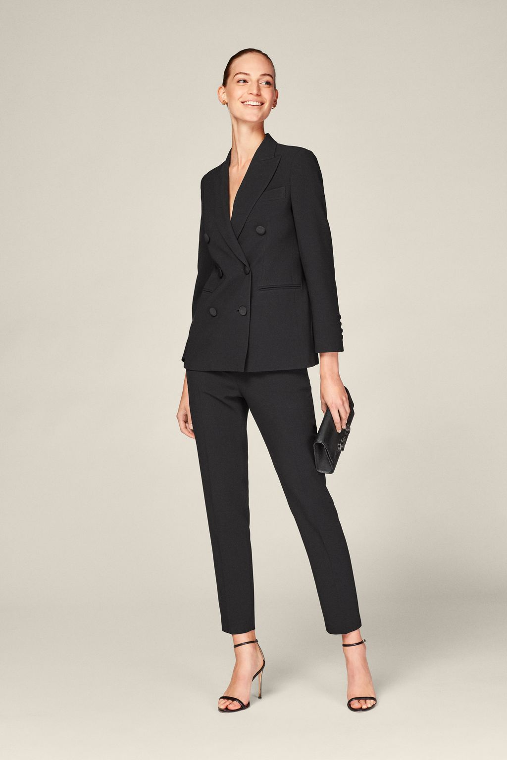 Crepe slim-leg trousers