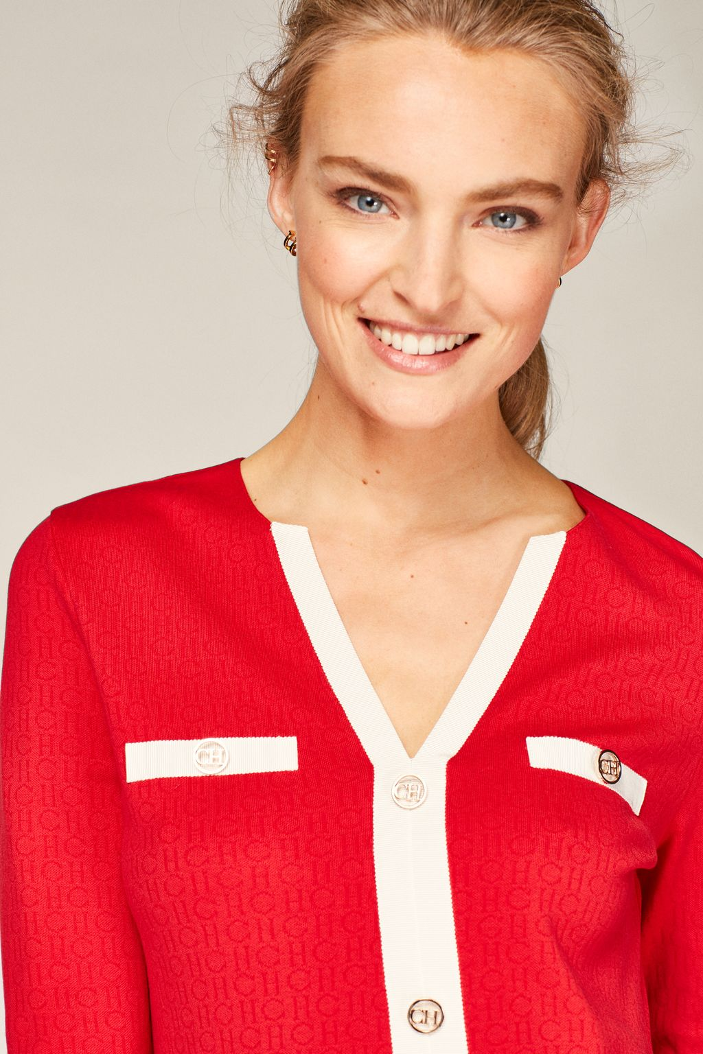 CH jacquard top with grosgrain